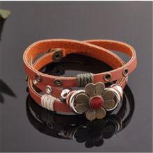 Античный модный мужской кожаный многослойный браслет с маргариткой