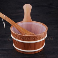 Free Shipping Pure Handmad 4L Red Cedar Bucket And Ladle Combined With Portable Insert Wholesaler Sauna