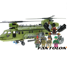 Heavy Bomber Building Block Sets Block Black Gold Military Series Helicopter Weapon Army Soldiers Bricks Children