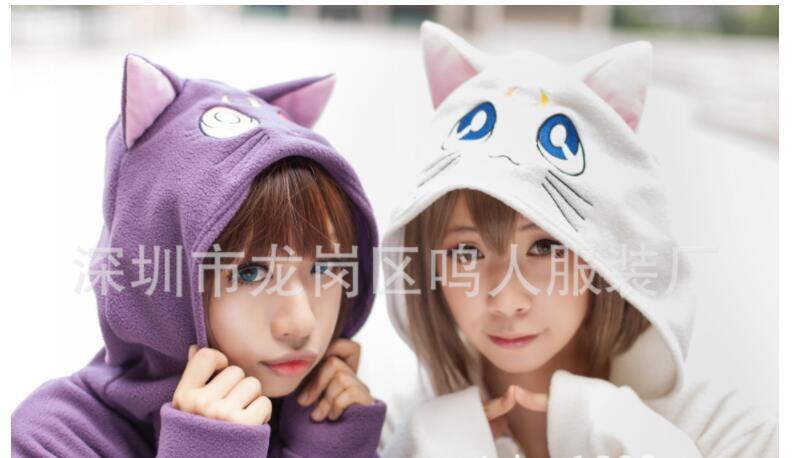 Anime marin lune à capuche Cosplay quotidien Outwear Cartoon décontracté Luna chat oreilles à capuche manteau femmes Zipper sweat veste