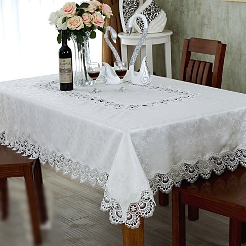 White 180*270cm High Quality <font><b>Elegant</b></font> Polyester Full Lace Tablecloth Wedding Table Cloth Cover Overlays <font><b>Home</b></font> <font><b>Decor</b></font> Towel Textiles