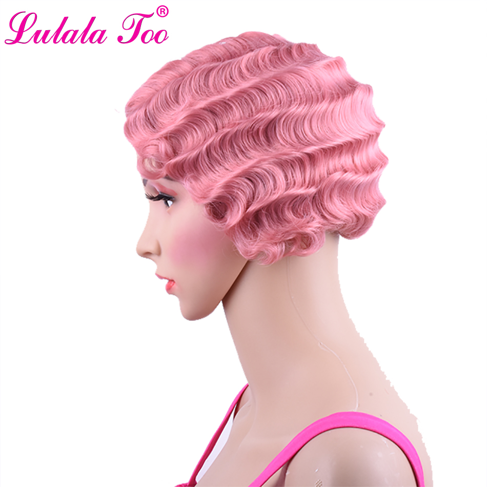 <font><b>Short</b></font> <font><b>Pink</b></font> Curly Synthetic <font><b>Wig</b></font> For Black Women Finger Wave <font><b>Wig</b></font> Heat Resistant Brown Blonde African American Pixie Cut Mommy <font><b>Wig</b></font> image