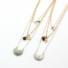 Free shipping The new fashion Green pine, white pine, crescent set powder line broken necklace