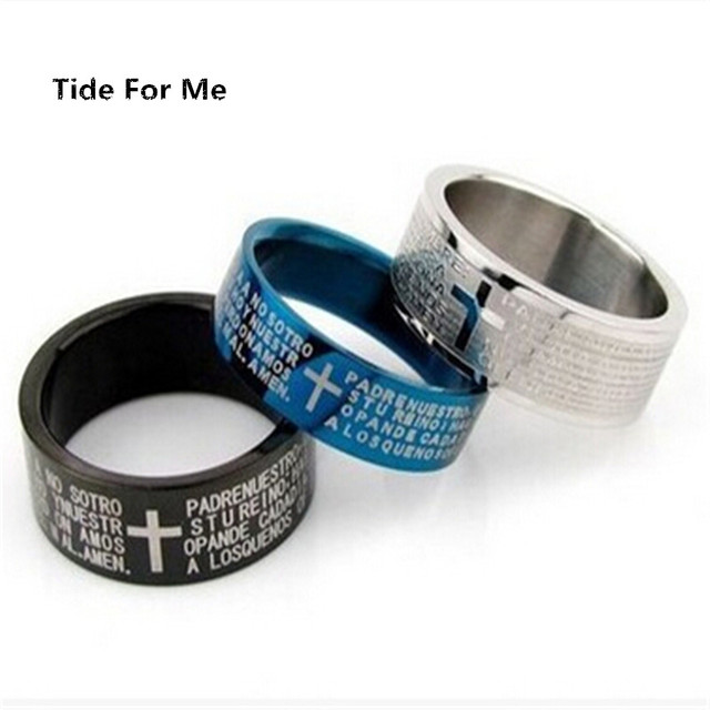 2017 new fashion punk jewelry men stainless steel bible lord's Prayer silver Cro