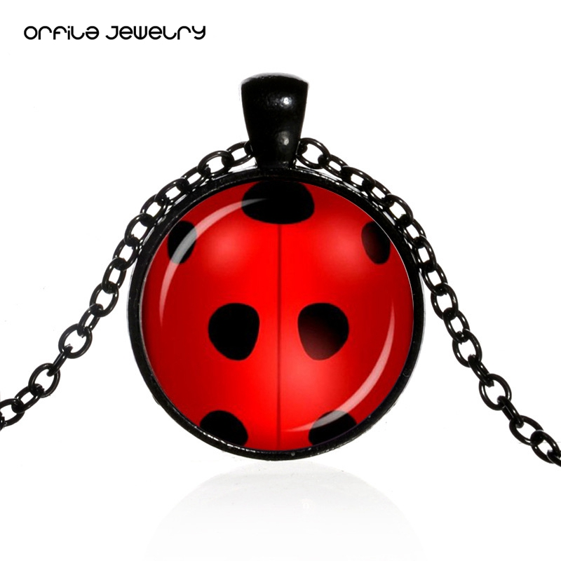 ORFILA Miraculous Ladybug Lady Bug Kids Pendant Necklace Children Necklace For Boys Girls Kids Jewelry Multicolor Christmas Gift