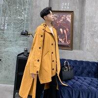 Male Overcoat Spring Autumn Clothes Men Trench Coat Harajuku Streetwear Asymmetry Design Fashion Casual Loose Windbreaker Jacket