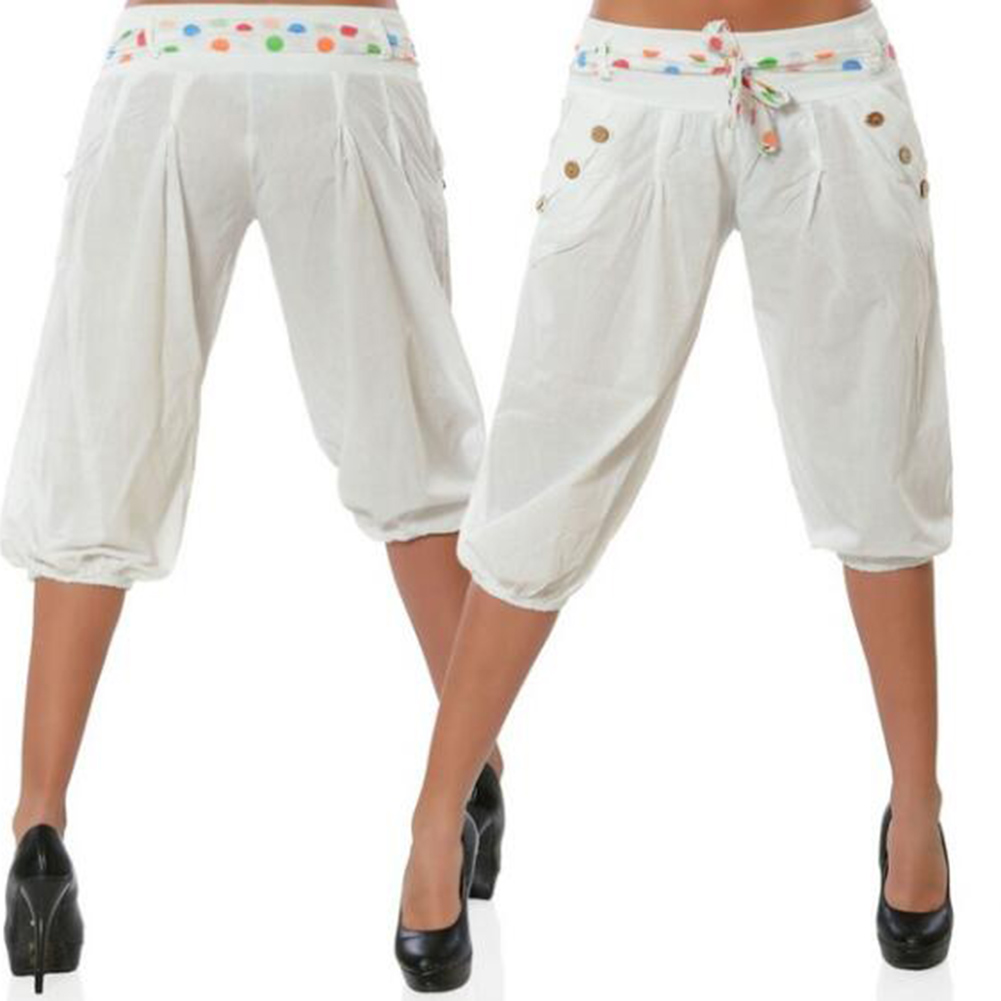 Women Summer Casual Cropped Pant Elastic Waist Ice Silk Harem Pants Large Size