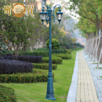 Antique Blue Color 3 Heads Garden Pole Lamp Led Road Lighting Villa Courtyard Aluminum Light Fitting