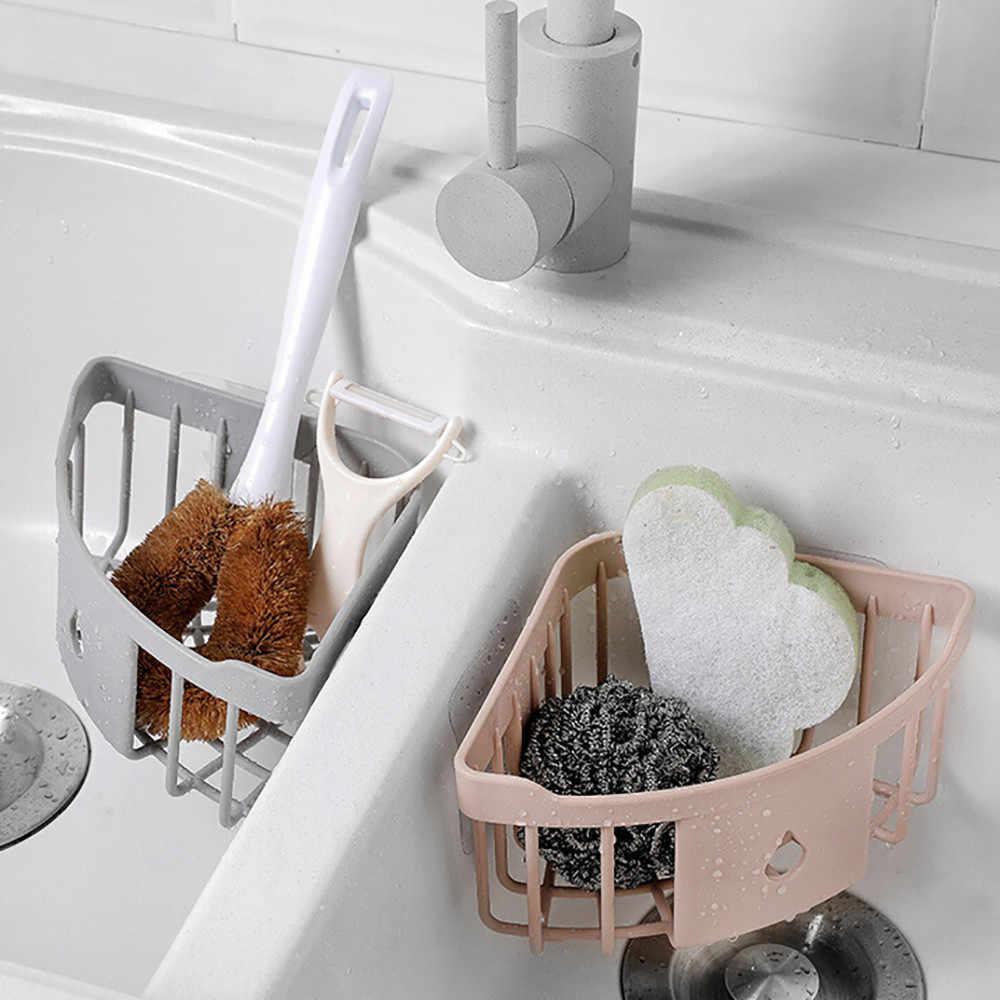 Пластиковая настенная треугольная полка для ванной, кухни угловая стойка для хранения Органайзер дренажная душевая полка аксессуары для ванной комнаты # Z