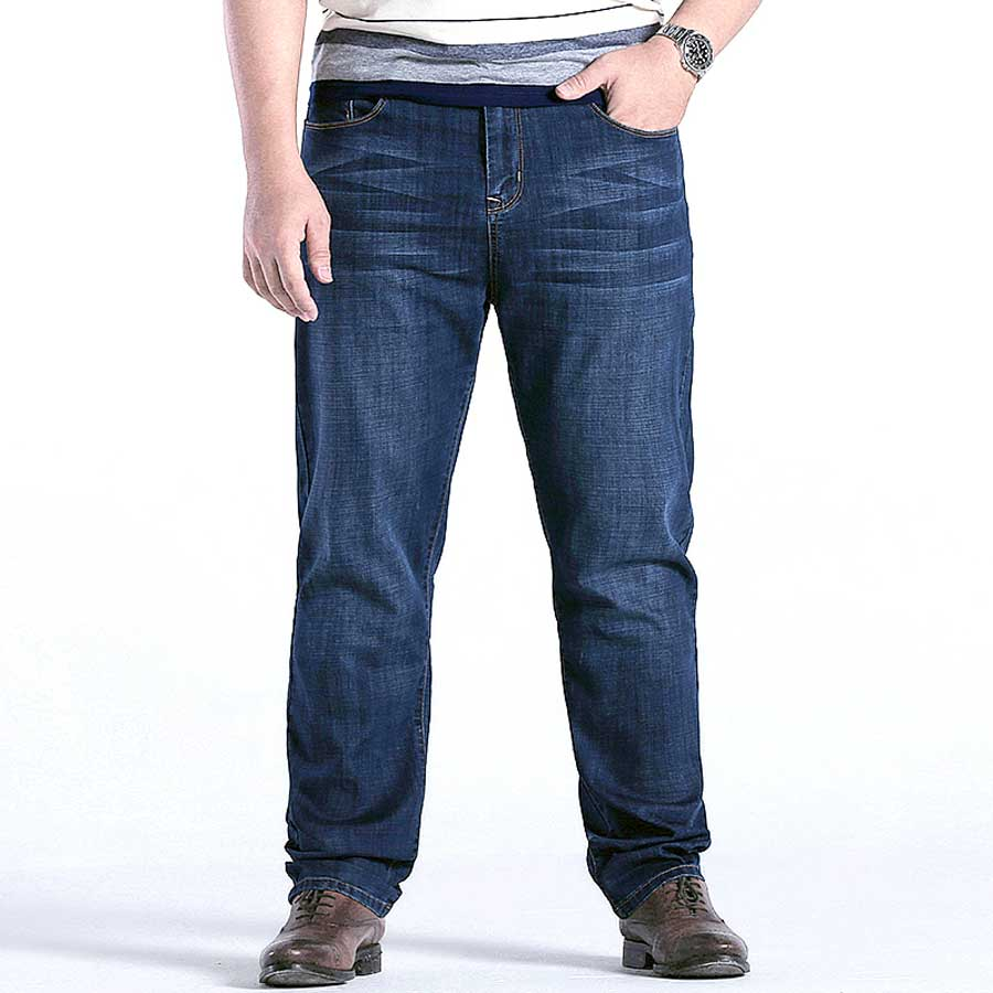 Summer Plus Size Thin Jeans Men Comfortable Relaxed Fit Classic Straight Lightweight Male Stretch Denim Pants 28-48 40 42 44 46 all seasons famous brand jeans men straight denim classic blue jeans pants regular fit high quality plus size 28 to 40 sulee