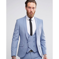 Custom Made Light Blue Men Suits Double Breasted Blazer Slim Fit Skinny 3 Piece Groom Tuxedos Wedding Suits (Jacket+Pant+Vest)