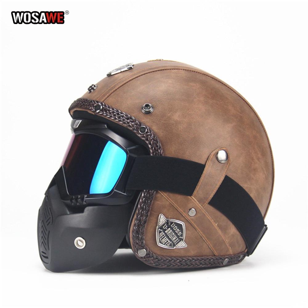 WOSAWE PU motocykl skuter kask Retro Vintage 3/4 otwarta twarz kask motocyklowy capacete motocross motocykl Capacete