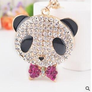 Panda crystal bow keychain new 2015 korean luxury moda llaveros for men car accessories/portachiavi/chaveiro strass/gadgets/belt