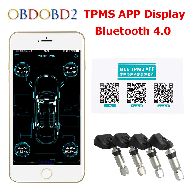 Car Tire Tyre Pressure Monitoring System TPMS Bluetooth 4.0 Phone TPMS IOS Android 4 Internal Sensor Low Energy Alarm Care