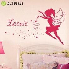 JJRUI Персонализированная Фея виниловая наклейка на стену любое имя для девочек Детская Наклейка для спальни 21 Цвет 2 размера