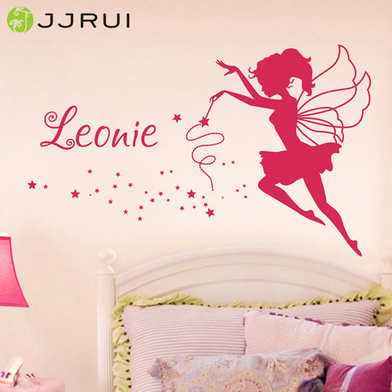 JJRUI Personalized Fairy Vinyl Wall Art Sticker Any Name Girls Kids Decal Bedroom Kanak-Kanak 21 WARNA 2 saiz