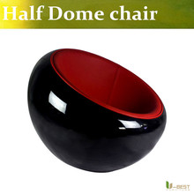 U-BEST Simple personality single sofa leisure study chair,fiberglass Bowl chair half dome chair in fibergalss