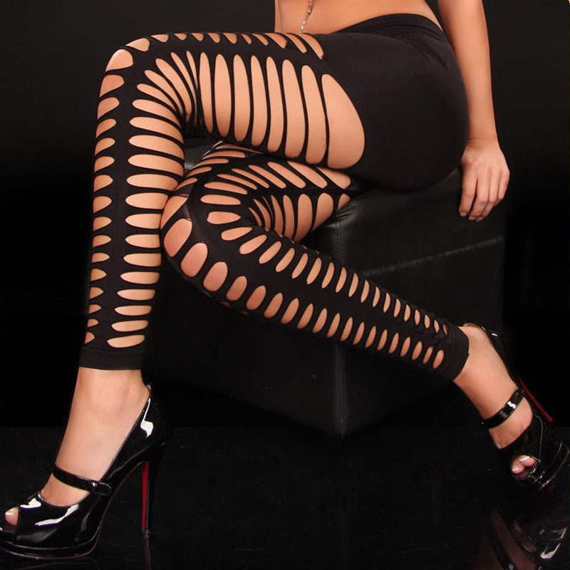 Sexy Punk Gothic Fetish Women Black Leggings Sexy Casual Flared Trousers Ripped Cut Out Bandage Women Pants