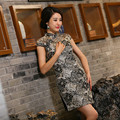 New Arrival Chinese Tradition Mandarin Collar Women's Lace Embroidery Mini Cheong-sam Qipao S M L XL XXL TZM2015013