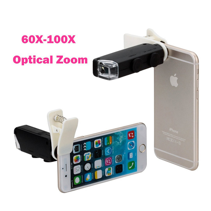 High Quality 60X-100X Zoom Magnifier Camera Lens Clip LED Microscope Macro Mobile Phone Lenses For iPhone 7 Samsung S6 S7 Note4