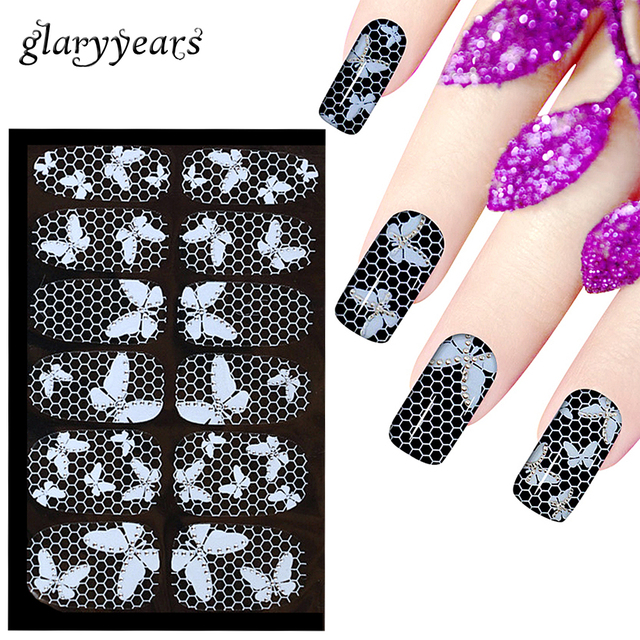 16 Designs 1 Piece White Butterfly Flower Design Full Cover Nail ...