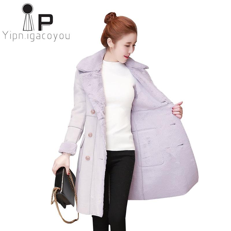 Faux Lambswool   Suede   Coats Women 2018 Autumn Winter Faux   Leather   Jacket Female Casual Lamb Fur Warm Coat Plus size Long Overcoat
