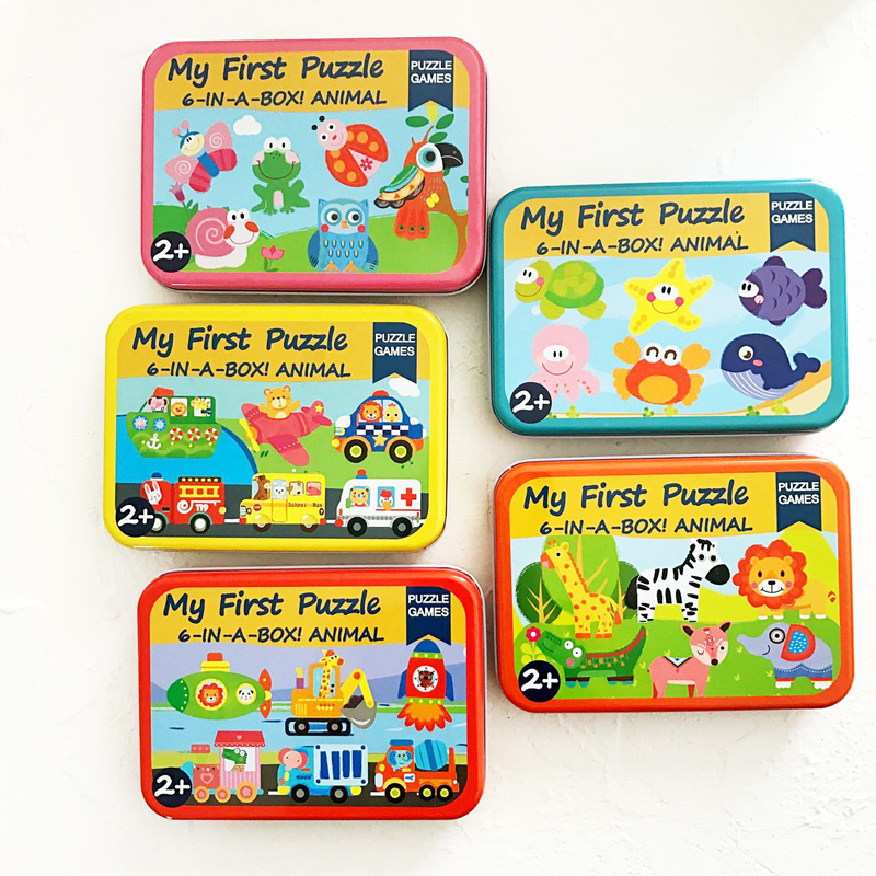 6pcs Baby Big First Wooden Puzzle Toy With Iron Box Cartoon Animals Vehicle Puzzle For Kids Early Learning Toy 2 Years Old
