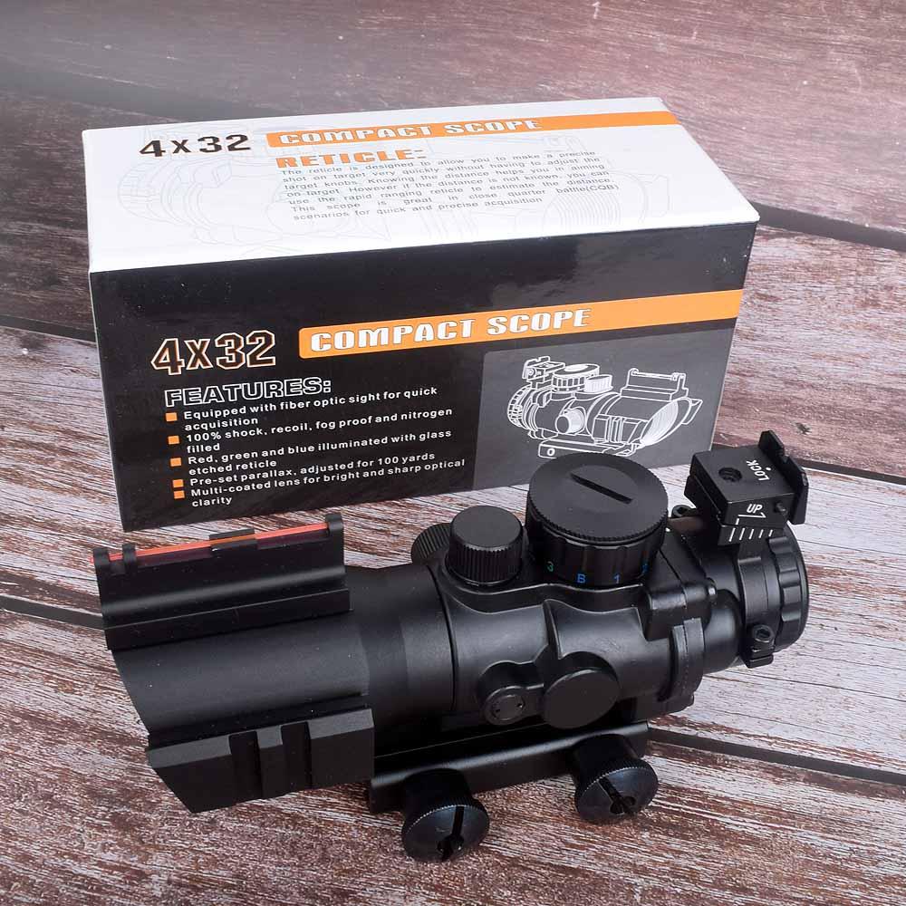 사냥 시력 4x32 acog riflescope 20mm dovetail 반사 광학 범위 시력 사냥 총 소총 airsoft 스나이퍼 돋보기 공기