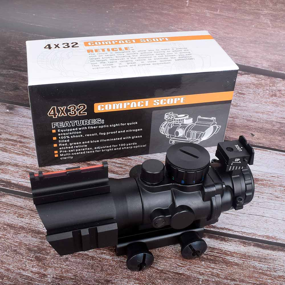 Hunting Sight 4x32 Acog Riflescope 20mm Dovetail Reflex Optics Scope Sight For Hunting Gun Rifle Airsoft Sniper Magnifier Air