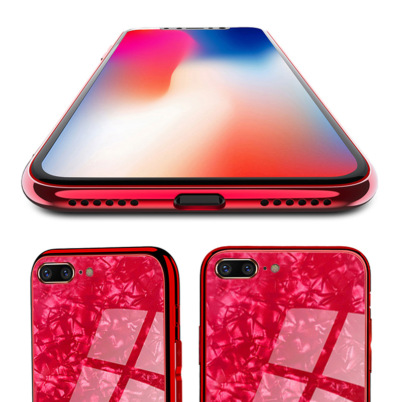 Bakeey Shell Pattern Glossy Glass Soft-Edge Protective Case for iPhone7Plus/8Plus