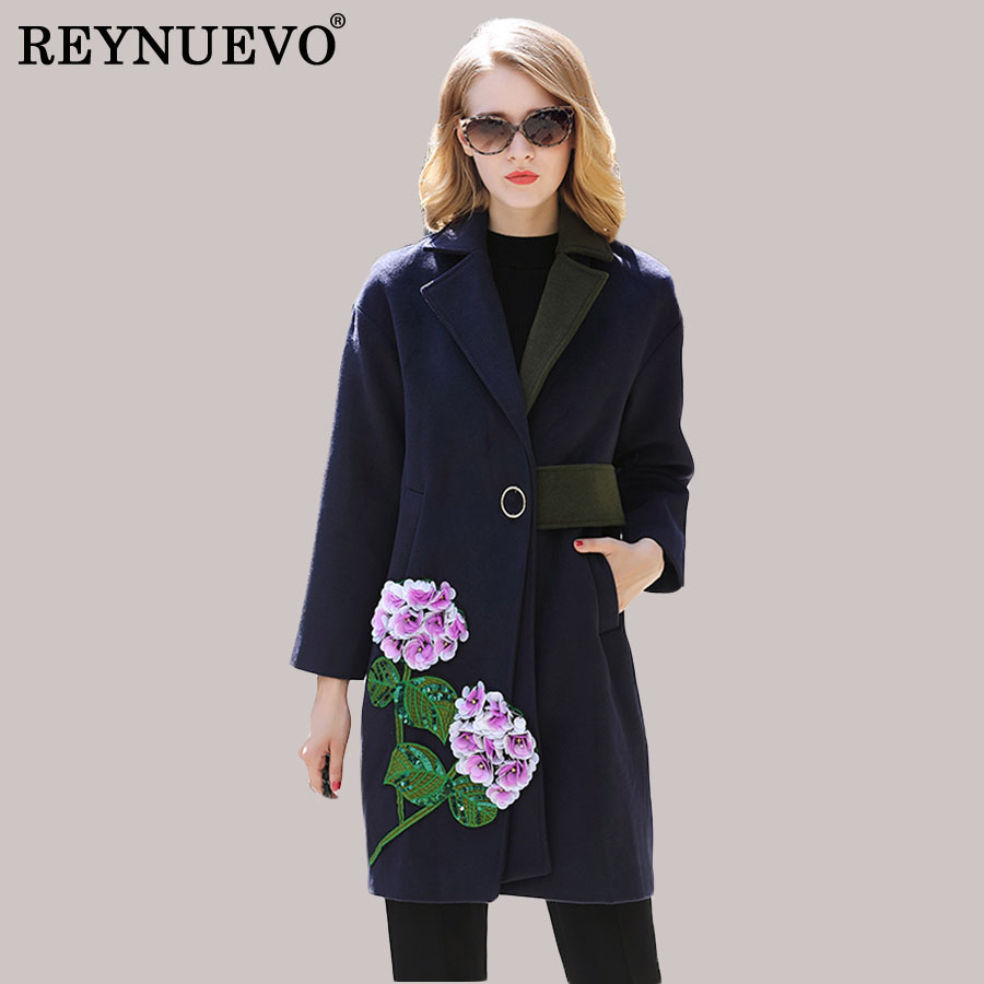 Woolen New Coats Women 2017 Autumn Winter Full Sleeve Navy Blue Noble Appliques Sequined Patchwork Elegant Fashion Coat