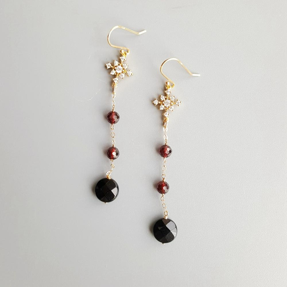 Lii Ji Genuine Black Agate Garnet Zircon Snowflake Drop Delicate S925 Earrings Hook Earrings