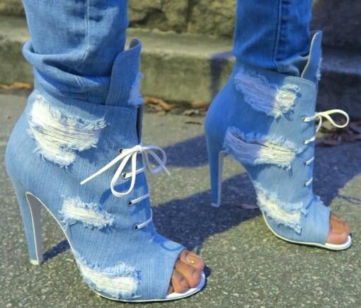 Drop Shipping New Women Blue Denim Jeans Peep Toe Lace Up Front Stiletto Heel Short Ankle Boots Cuts Out Hole Booties Shoes 43 blue off the shoulder lace up front denim crop top