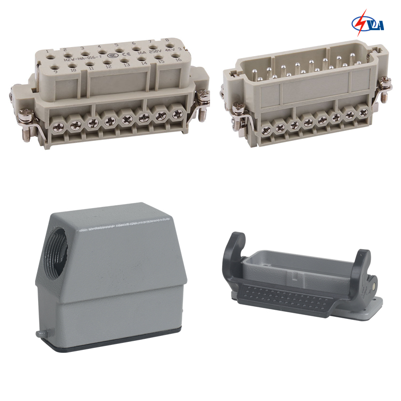 HA-016  price Heavy Duty Connector 16 pins 600v 16A heavy duty connectors hdc hee 018 1 f m 18pin 16a industrial rectangular aviation connector plug