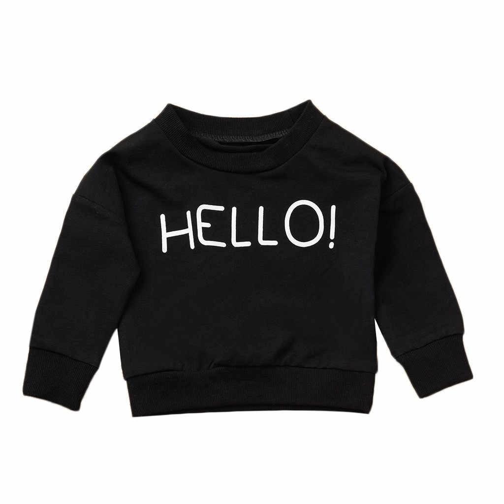 Весенняя одежда для малышей Одежда для новорожденных и маленьких девочек, футболки для мальчиков, рубашки с принтом-надписью с длинными рукавами Черная футболка Топы conjunto infantil # Q628