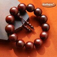 Genuine Natural iIndian Lobular Red Sandalwood 18mm beads bracelet high density with Venus rosewood bangle for men women gift