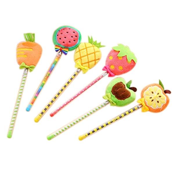 12 pcs Creative 3D Plush fruit gel pen Cute Black Ink Signature pen kids Gift Office School Supplies 140 page note paper creative fruit design