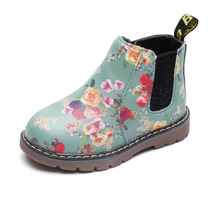 COZULMA Boys Girls Printed Martin Boots Baby Kids Winter Boots Children Anti skid Shoes Girls Flowers Boots Zipper Ankle Shoes in Boots from Mother Kids