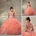 Requintado Coral Lace Frisada vestido de Baile Vestidos De Quinceanera Vestidos de Organza Ruffles Voltar Zipper Pageant Vestido Para 15 Anos