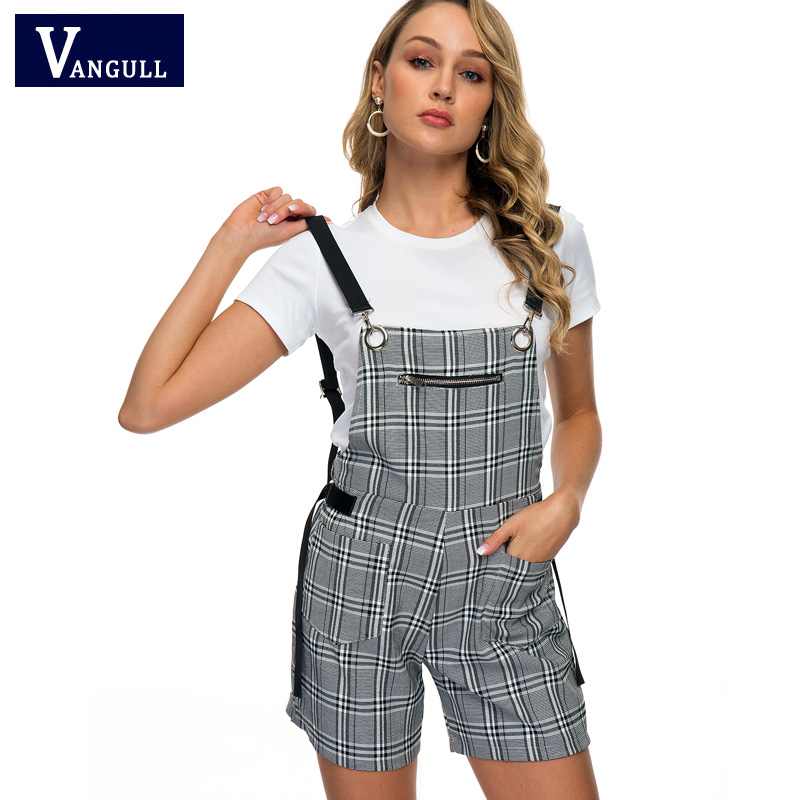 Vangull 2019 New Style Summer Women Casual Romper Jumpsuit Shorts Backless Strap Overalls Female Lady Black White Plaid Playsuit