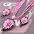 3 Set /Bag Water Drop Lampwork Jewelry Sets Hot Sale Colorful Flowers African Beads Jewelry Set Wedding Decoration For Women