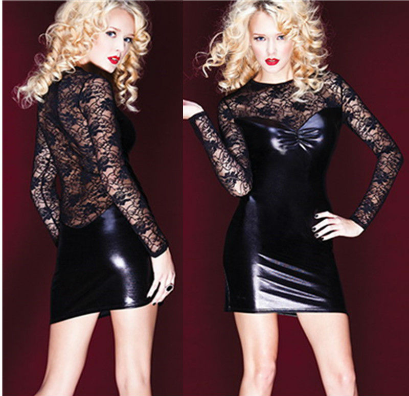 Female PVC Dress Erotic Latex Pole Dance Clothes Spandex Black Catsuit Clubwear Dress Lace Mesh Sexy Body Women Suits