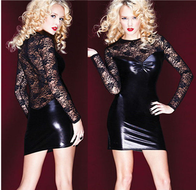 Female Pvc Dress Erotic Latex Pole Dance Clothes Spandex Black Catsuit Clubwear Dress Lace Mesh Sexy