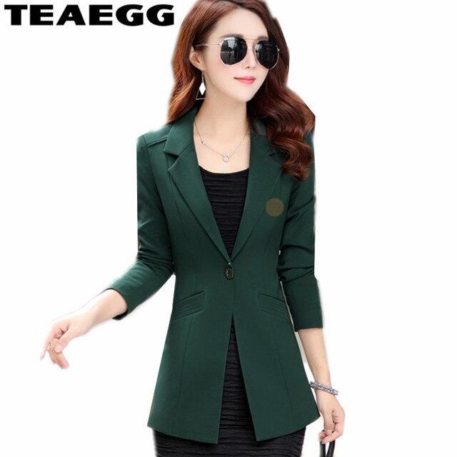 673f079d028 TEAEGG Office Women-Blazers-And-Jackets Spring Autumn Blazer Woman Clothing  Plus Size Dark Green Office Blazer Feminino AL767