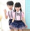 2016 новых детских одежда мальчиков наборы наборы галстук-бабочку успеваемость в школе наборы для мальчиков девушки дети с коротким рукавом + ремень брюки костюмы