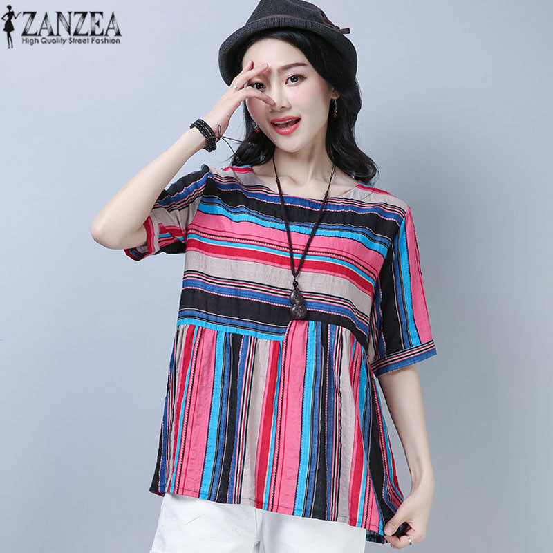 2018 ZANZEA Summer Beach Party Loose Blouse Women Casual Vintage O Neck Short Sleeve Panelled Striped Cotton Linen Shirt Tops