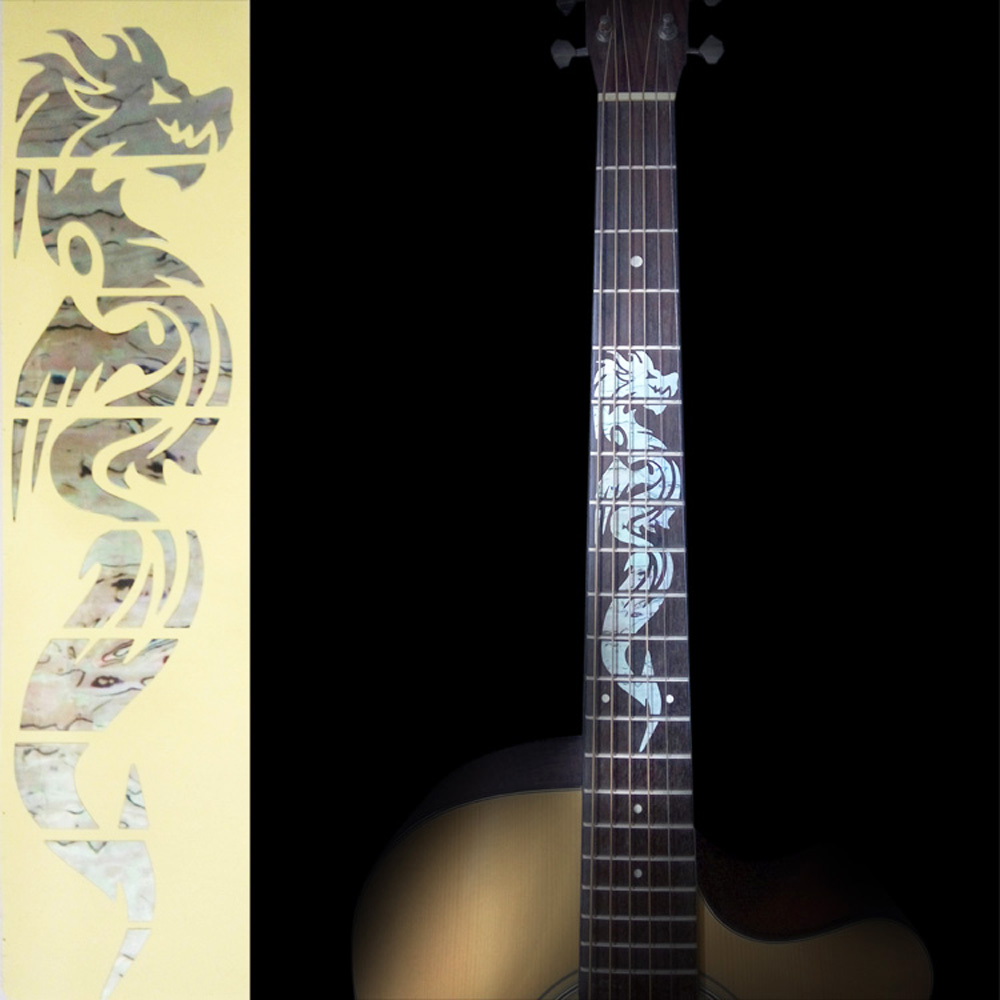 Electric Acoustic Guitar Inlay Sticker the Dragon Fretboard Markers Sticker Decal Guitarra fretboard markers inlay sticker decals for guitar bass space invaders white pear color