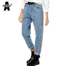 Achiewell Spring Vintage Casual Loose BF Style Women Jeans Plain High Waist Side Eyelet Blue Denim Mom Jeans Bottoms