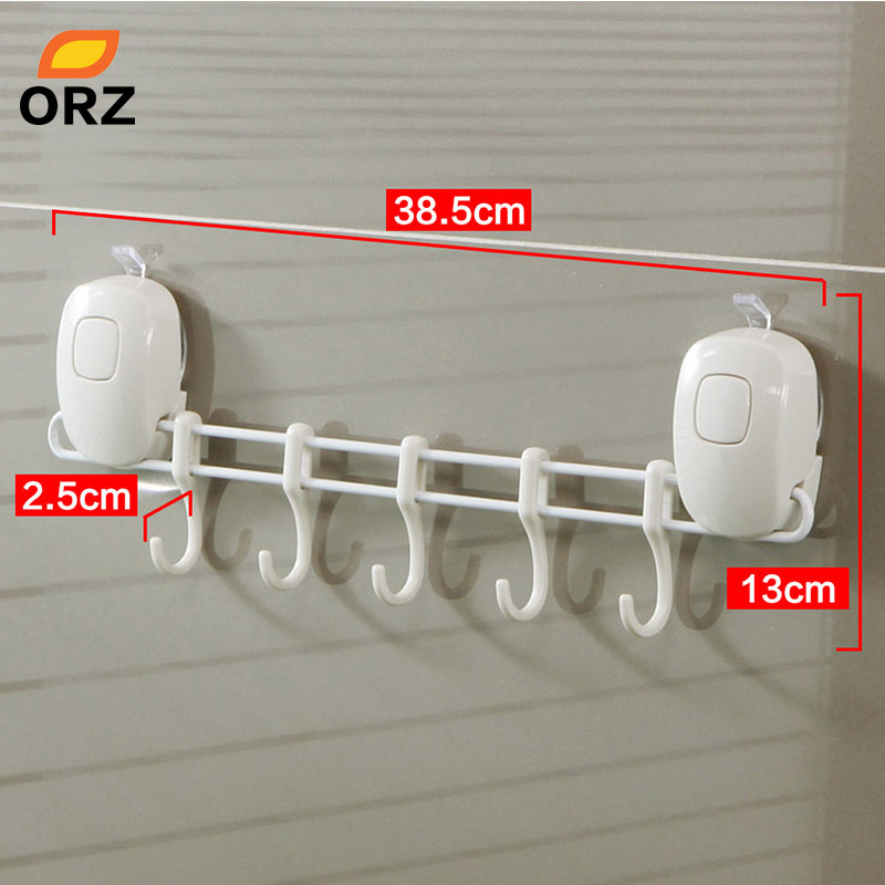 ORZ 5 Hooks Bathroom Kitchen Shelf Double Suction Cup Storage Rack Kitchen Sundries Rack Toilet Wall Mount Storage Towel Holder
