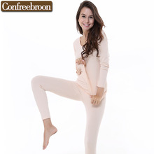 Women's Thermal Underwear Sets Low-cut Elastic Bodysuit Modal Blending Cotton Female Thin Warm Long Johns In Winter 176336